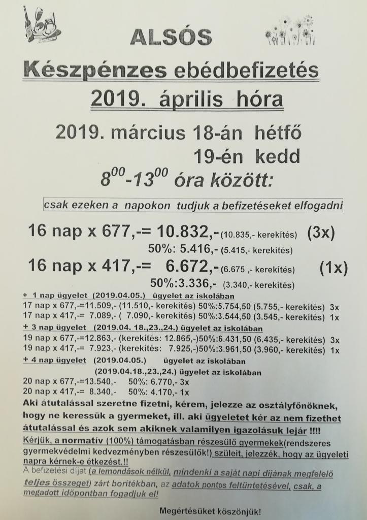 Ebédbefizetés - április